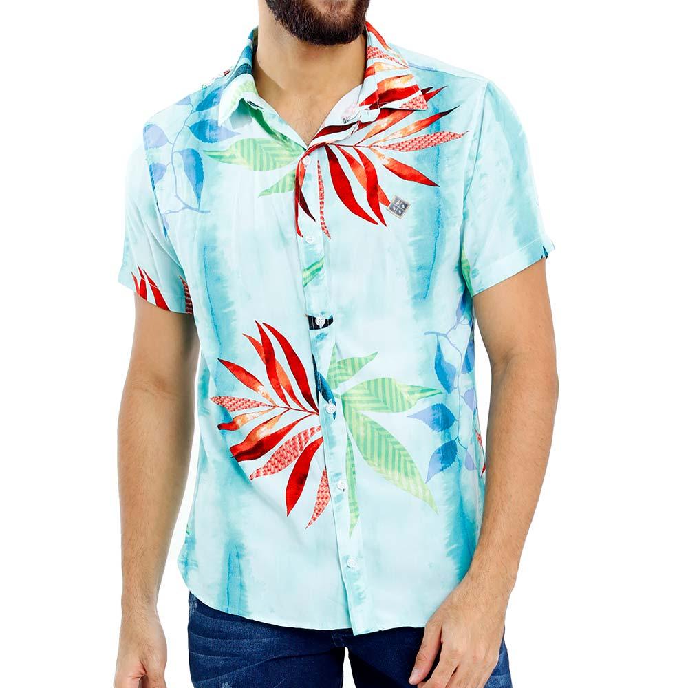 Camisa Estampada Florida Masculina Viscose Verde Claro