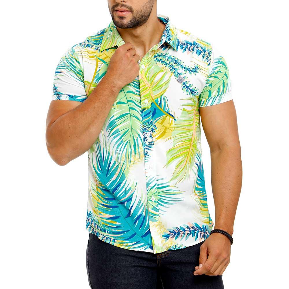 Camisa Estampada Masculina Creme Floral Bamborra