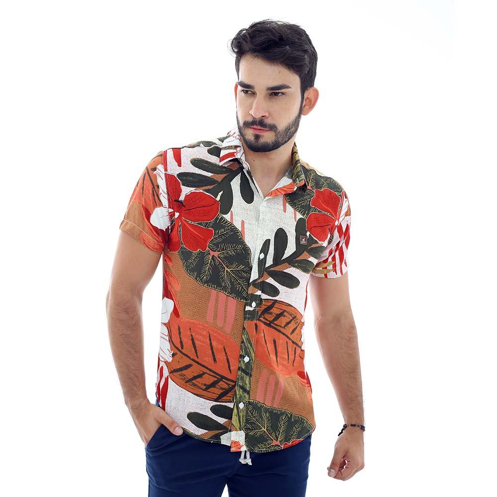 Camisa Estampada Masculina Flores e Folhas Outono