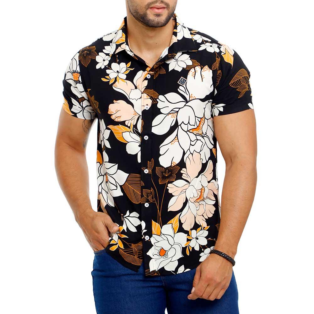 Camisa Floral Preta Masculina de Viscose Bamborra