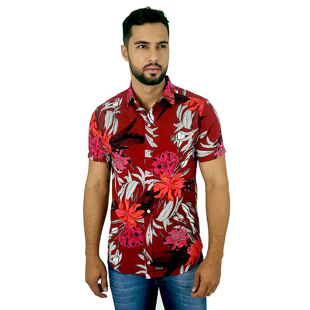 Camisa Florida Masculina de Viscose Vermelha Bamborra