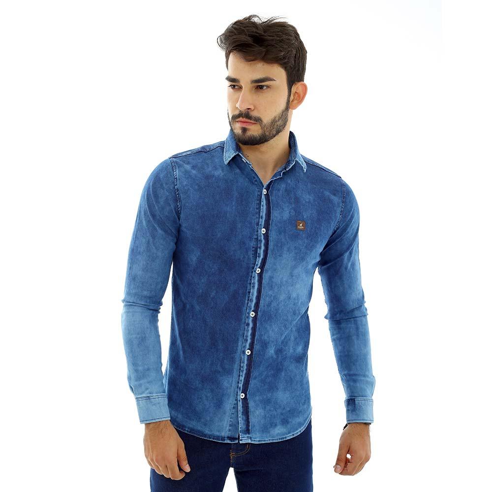 Camisa Jeans Masculina Slim com Lycra de Manga Longa