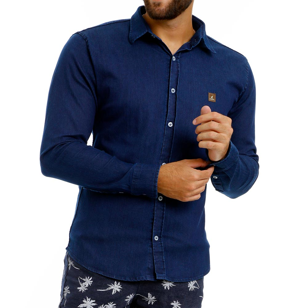 Camisa Jeans Masculina Slim de Manga Longa Azul Escuro