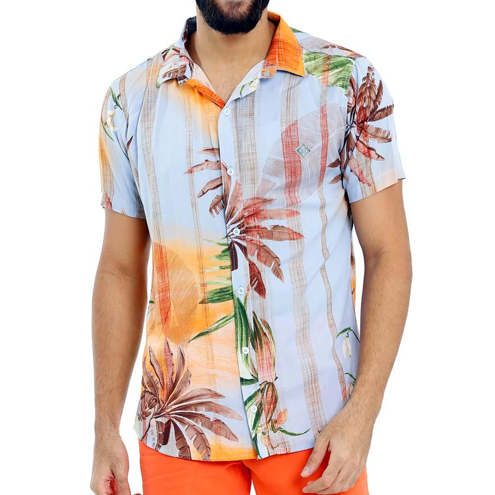 Camisa Listrada Florida Masculina Viscose Azul Claro