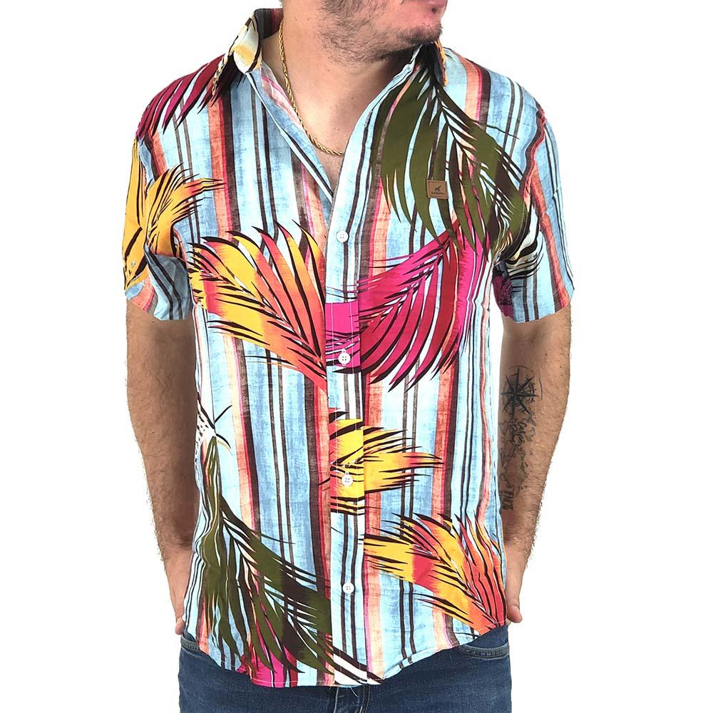 Camisa Listrada Masculina Com Estampa de Folhagem