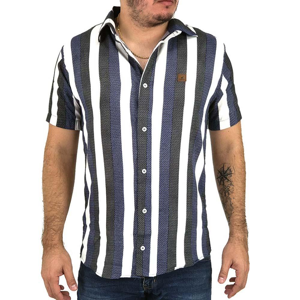 Camisa Listrada Vertical Masculina Branco, Azul e Preto