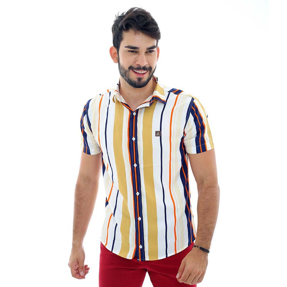 Camisa Listrada Vertical Masculina Colorida Viscose