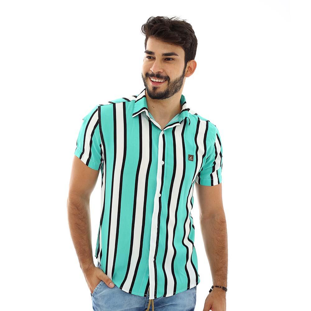 Camisa Listrada Vertical Masculina Verde e Branca