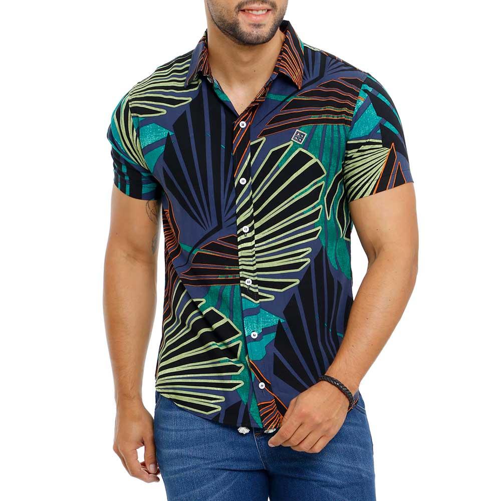 Camisa Masculina Azul Marinho Estampada Floral Bamborra