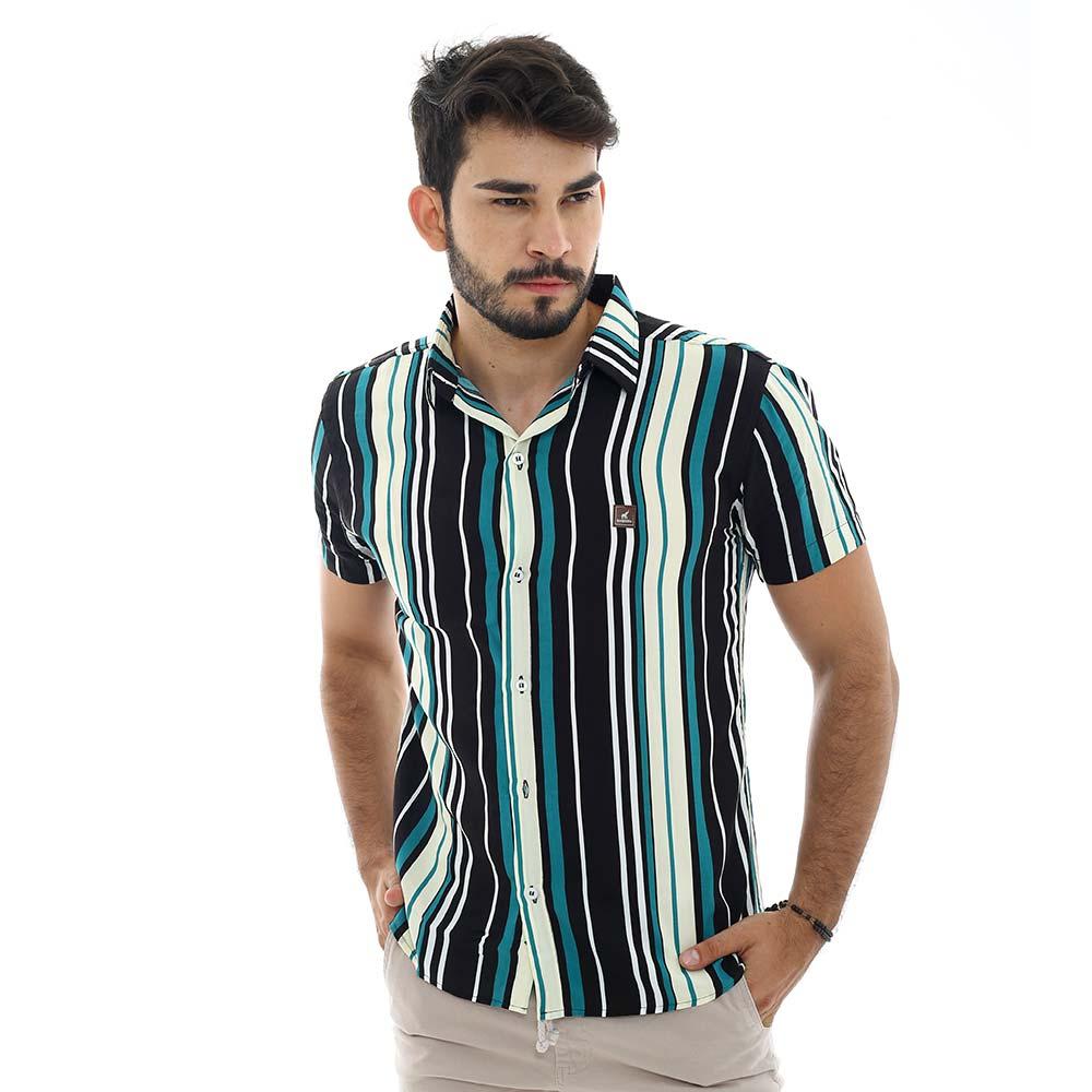 Camisa Masculina Casual Com Estampa Listrada Vertical