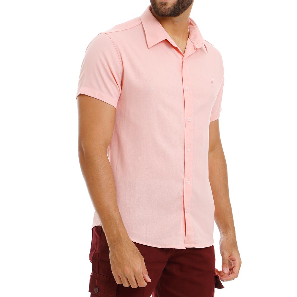 Camisa Masculina Casual de Linho Rosa Bamborra