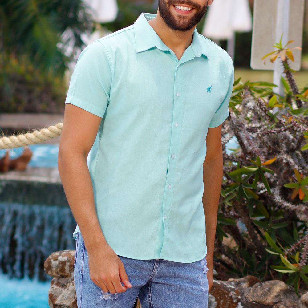 Camisa Masculina Casual de Linho Verde Bamborra