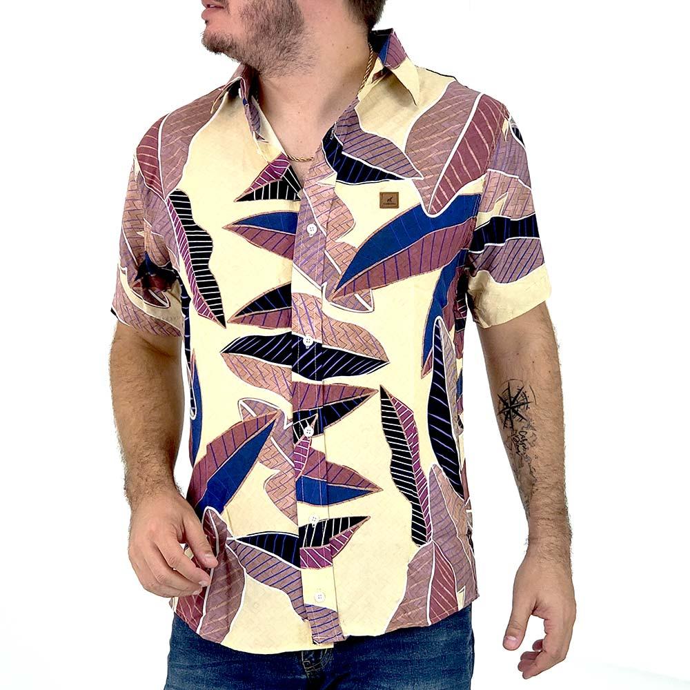 Camisa Masculina Casual Estampada Folhagem Outono
