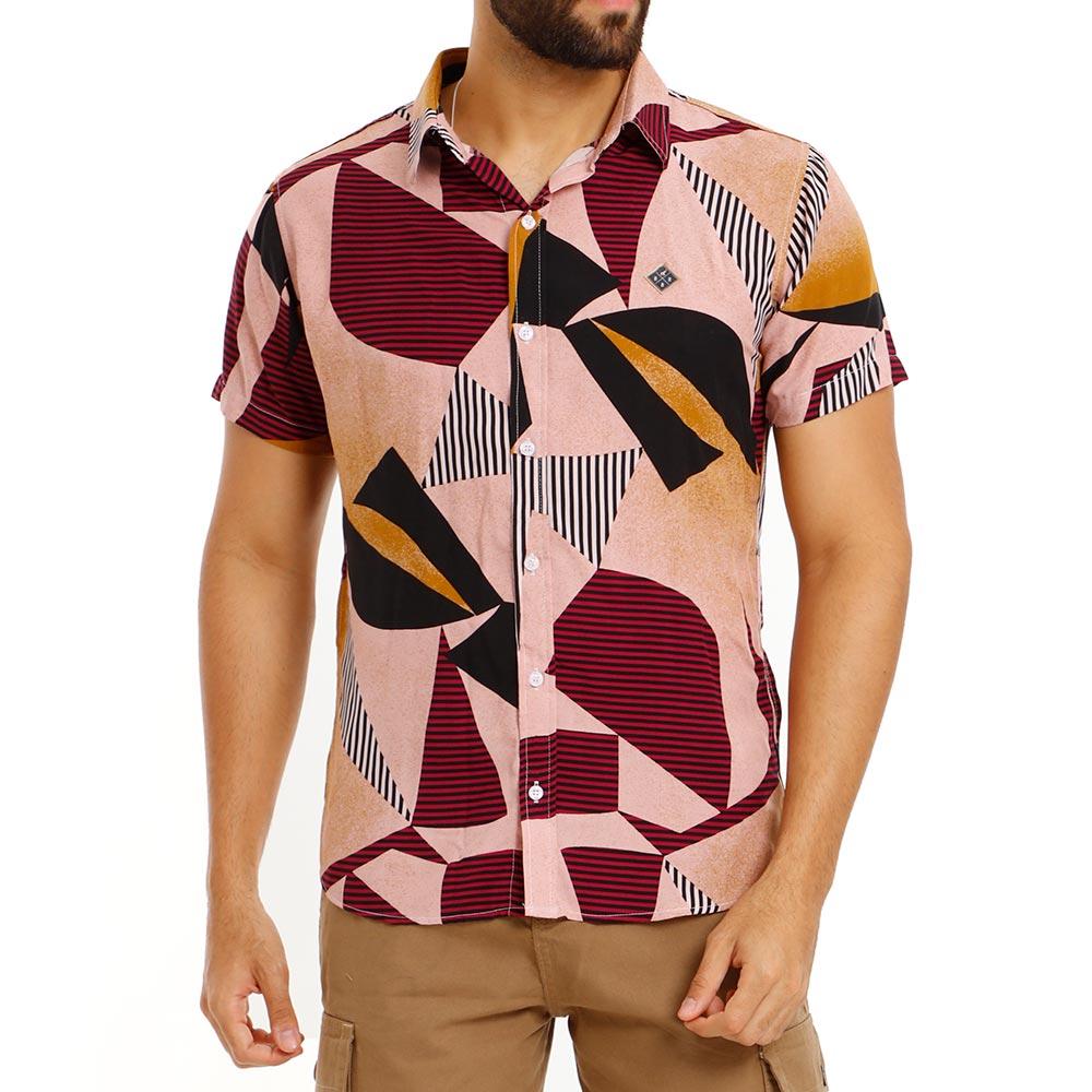 Camisa Masculina Casual Estampada Viscose Vinho Bamborra