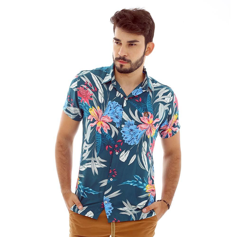 Camisa Masculina com Estampa Floral Super Estilosa