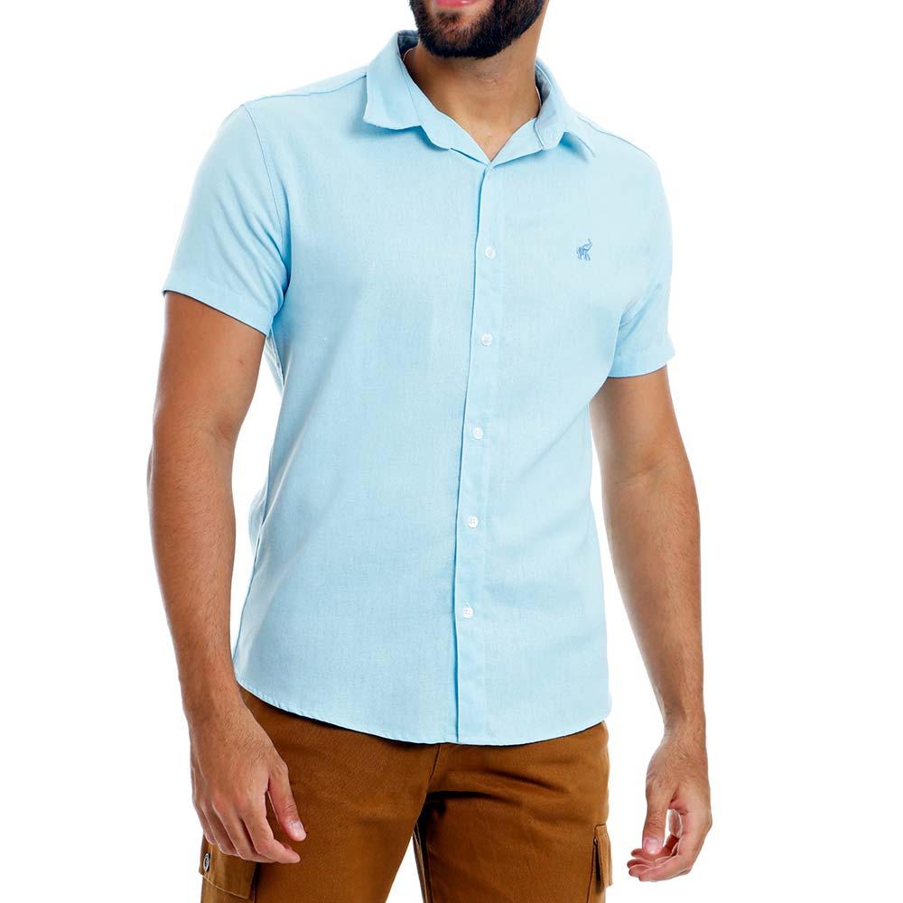 Camisa Masculina de Linho Casual Azul Claro Bamborra
