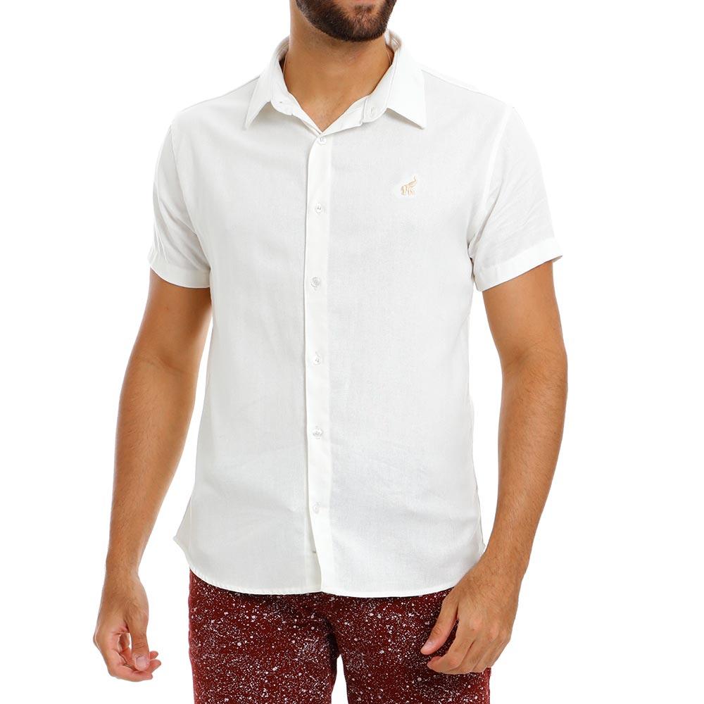 Camisa Masculina de Linho Casual Off White Bamborra