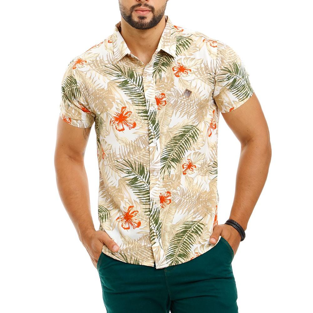 Camisa Masculina Estampada Floral Bege Viscose