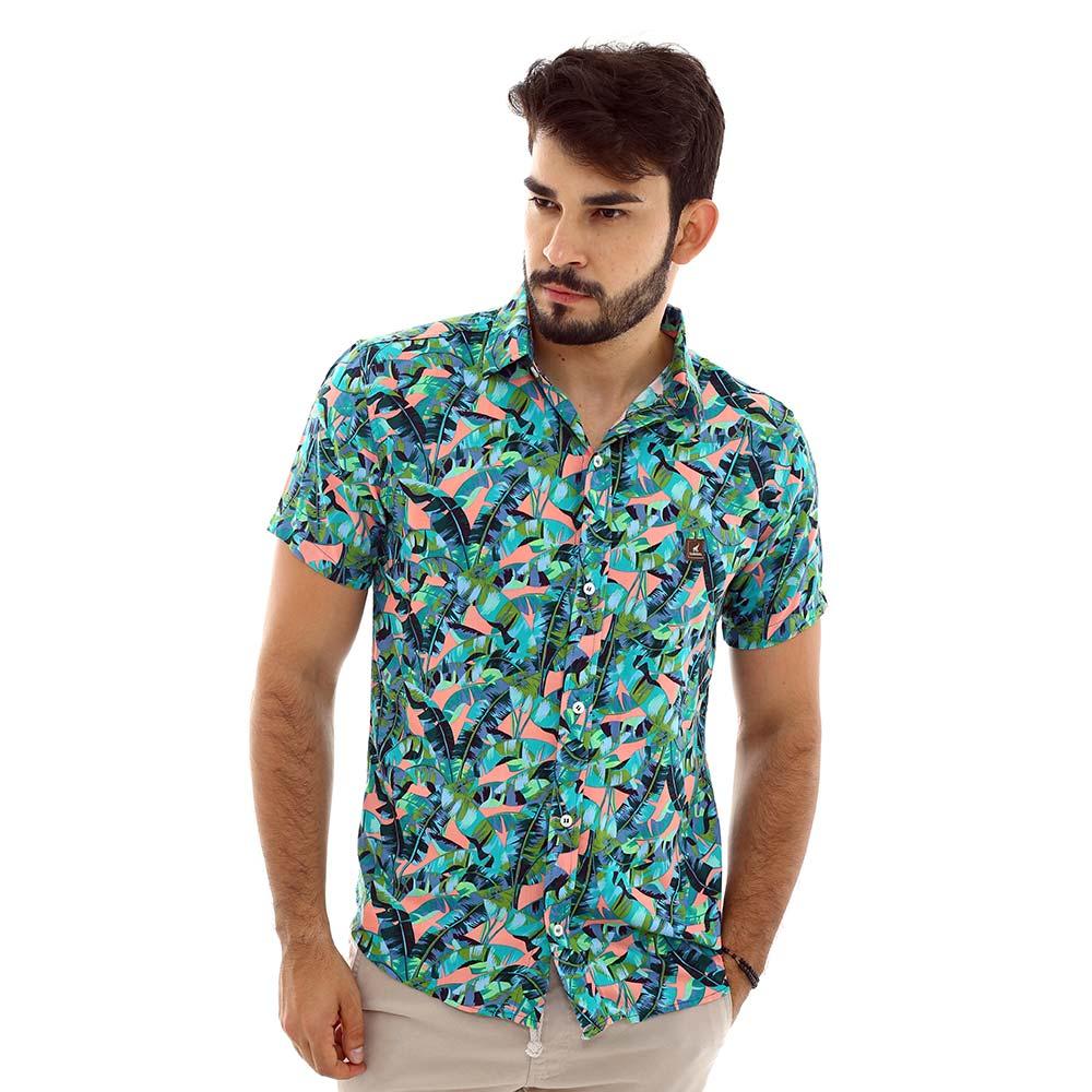 Camisa Masculina Estampada Folhagem Tropical Bananeiras