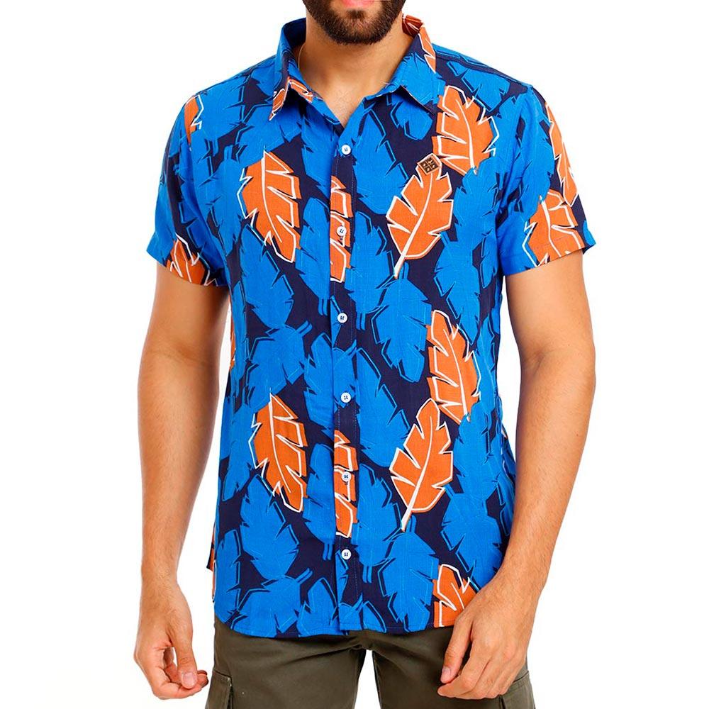 Camisa Masculina Estampada Folhagem Viscose Azul Bamborra