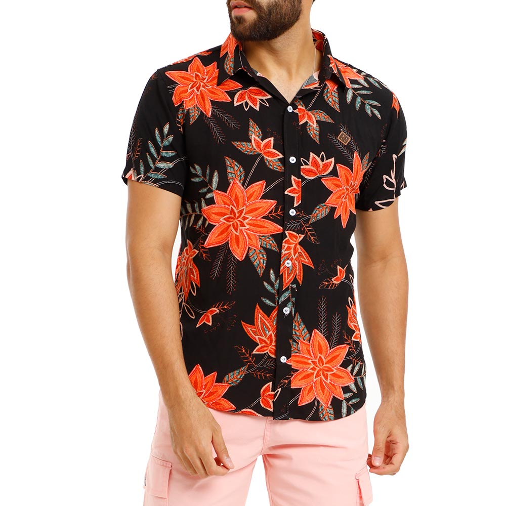 Camisa Masculina Estampada Preta Floral Viscose Bamborra