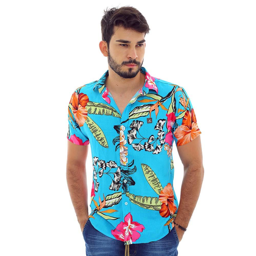 Camisa Masculina Estampada Tropical Floral Azul Claro