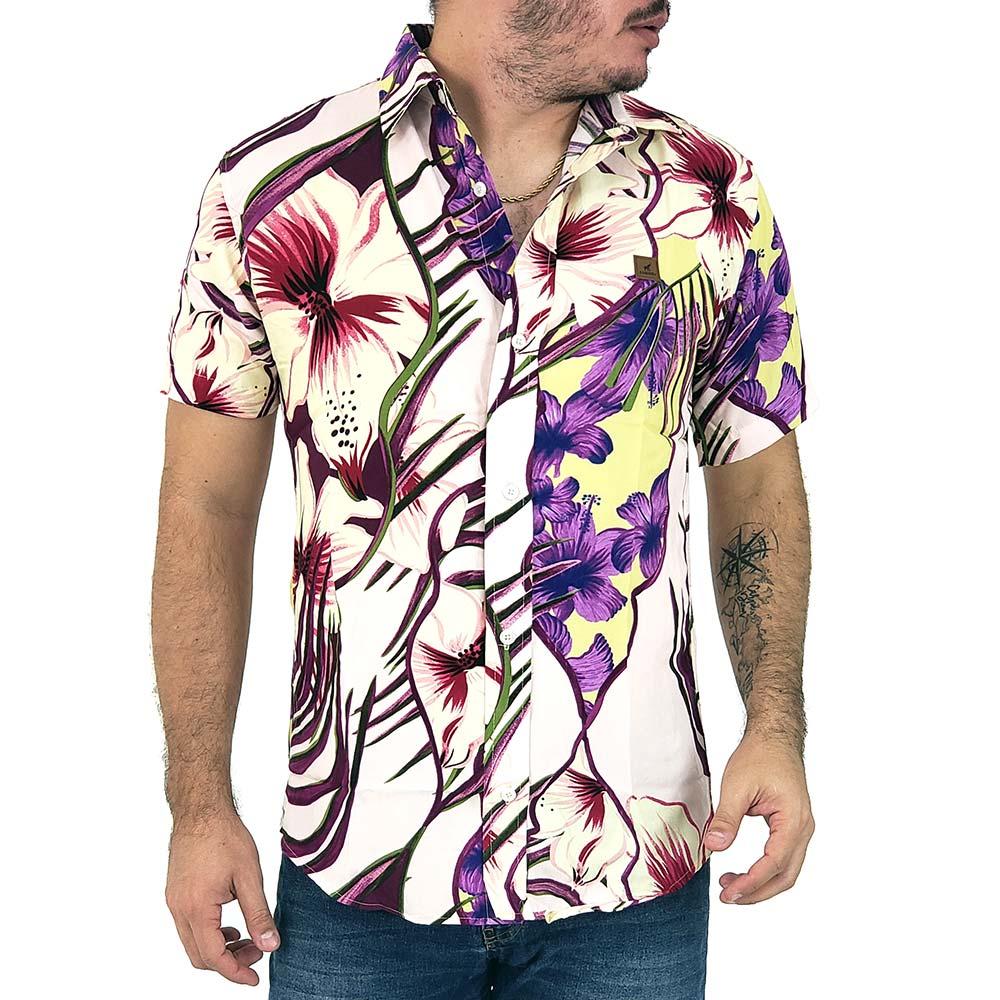 Camisa Masculina Floral Estilo Casual Em Tecido Viscose