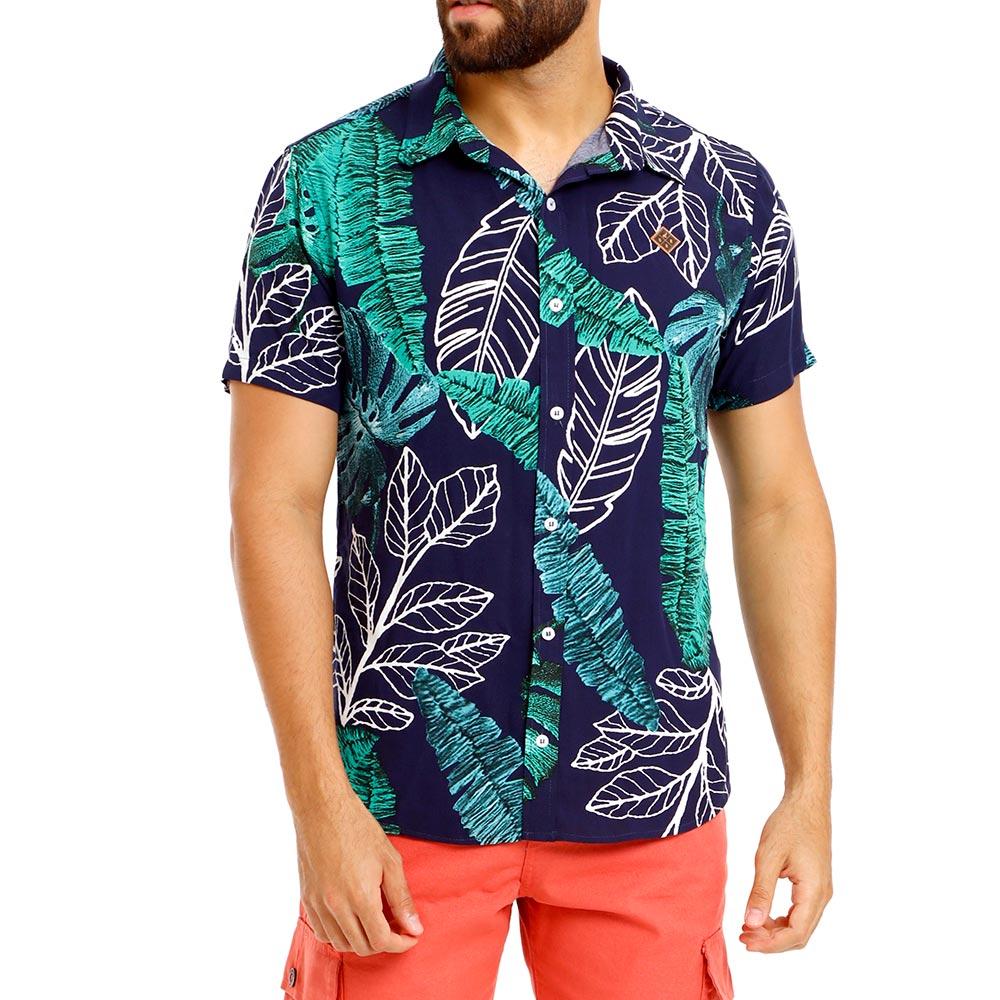 Camisa Masculina Folhagem Azul Marinho Viscose Bamborra