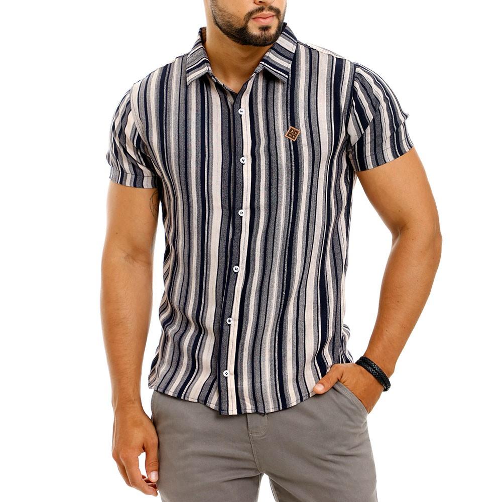 Camisa Masculina Listrada Vertical Cinza Viscose