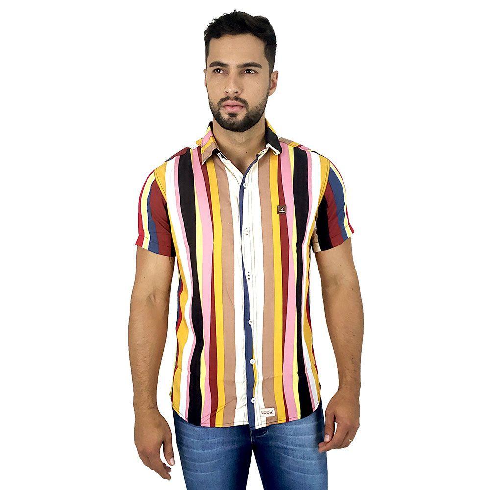 Camisa Masculina Listras Coloridas Verticais Casual Bamborra