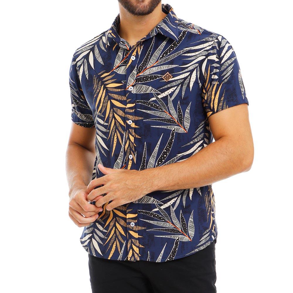 Camisa Masculina Manga Curta Estampada Viscose