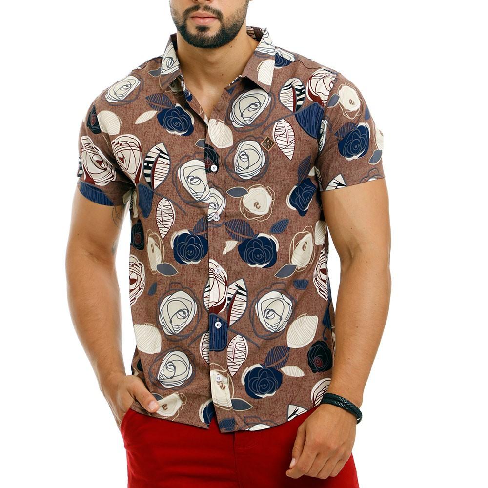 Camisa Masculina Marrom Com Estampa Floral Viscose