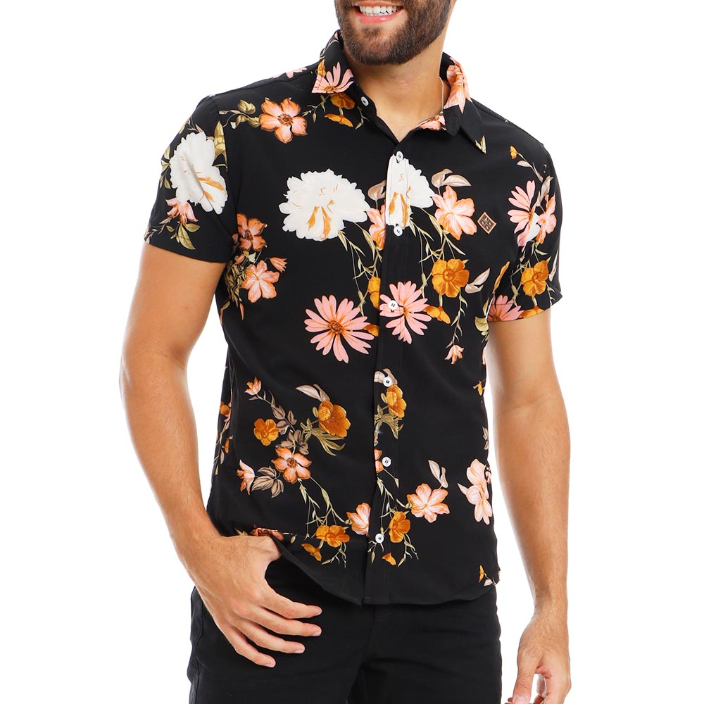 Camisa Masculina Preta Estampada Floral Bamborra
