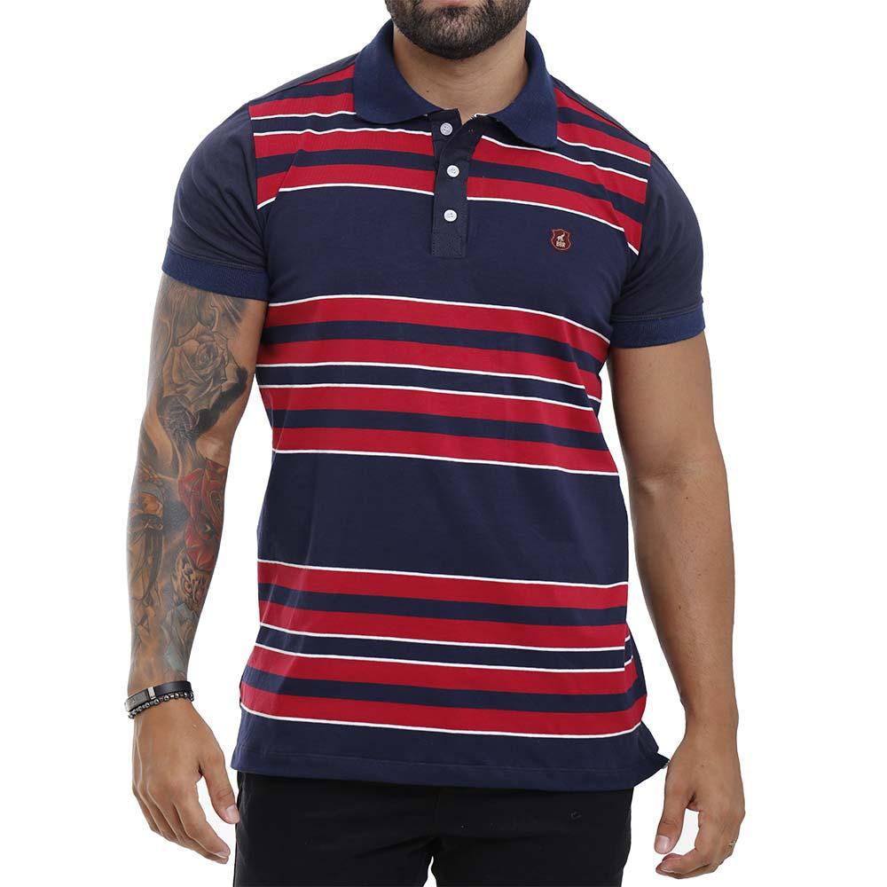 Camisa Polo Listrada Masculina Azul com Vermelho