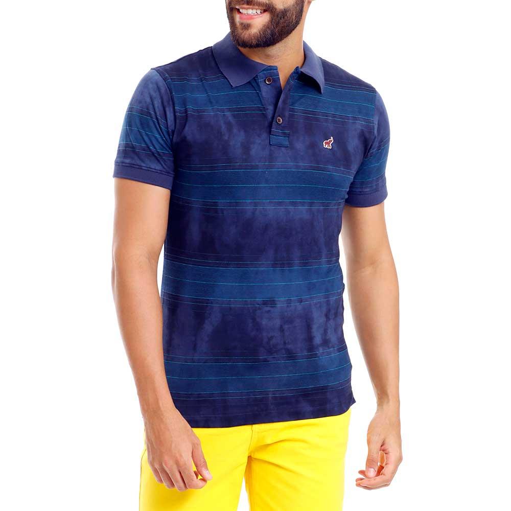 Camisa Polo Masculina Azul Listrada Slim Fit Bamborra