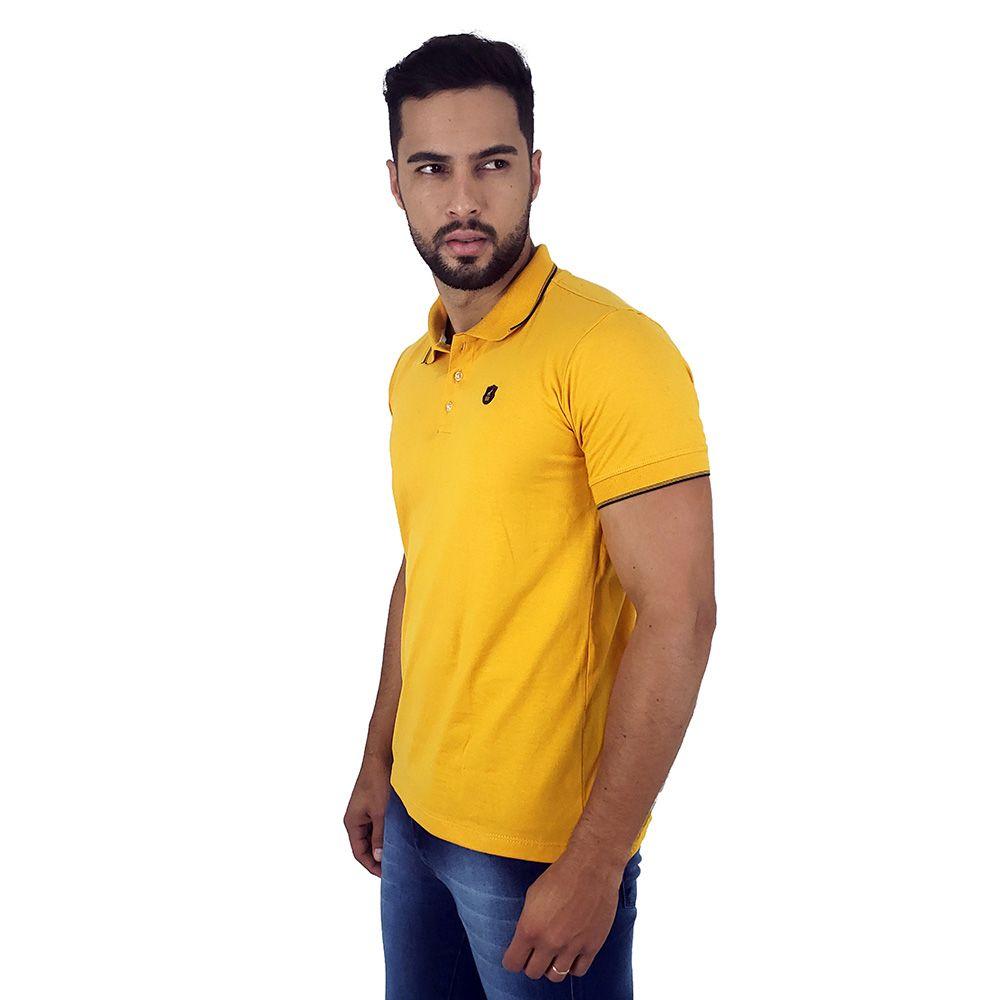 Camisa Polo Masculina Básica Amarela de Algodão Bamborra