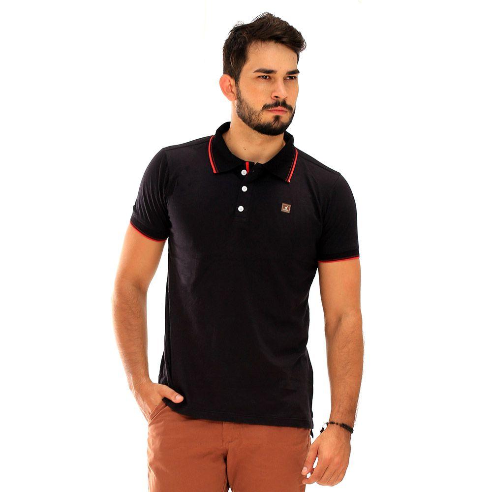 Camisa Polo Masculina Básica Preta de Algodão