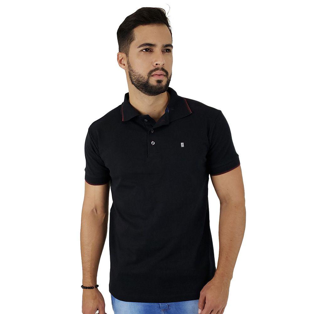 Camisa Polo Masculina Blitz Malha Suedine Preta