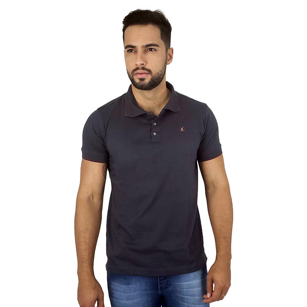 Camisa Polo Masculina Cinza Lisa de Algodão Bamborra