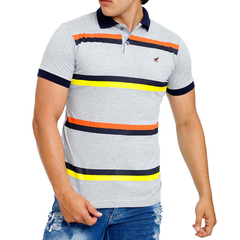 Camisa Polo Masculina Cinza Listrada Bamborra