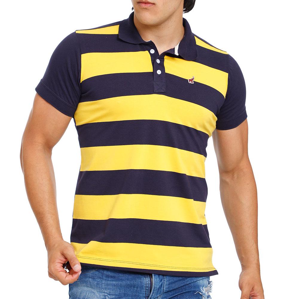 Camisa Polo Masculina de Algodão Listrada Amarela Bamborra