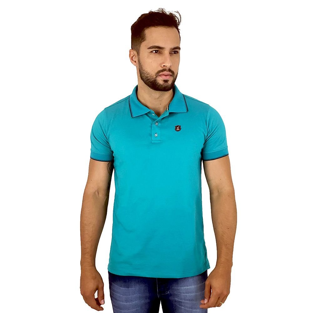 Camisa Polo Masculina Lisa Algodão Azul Turquesa Bamborra