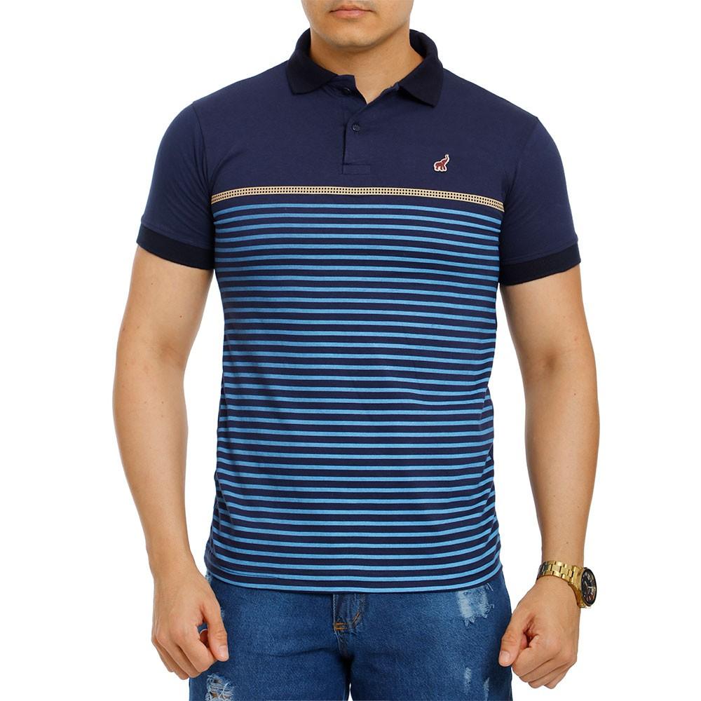 Camisa Polo Masculina Listrada Azul Bamborra