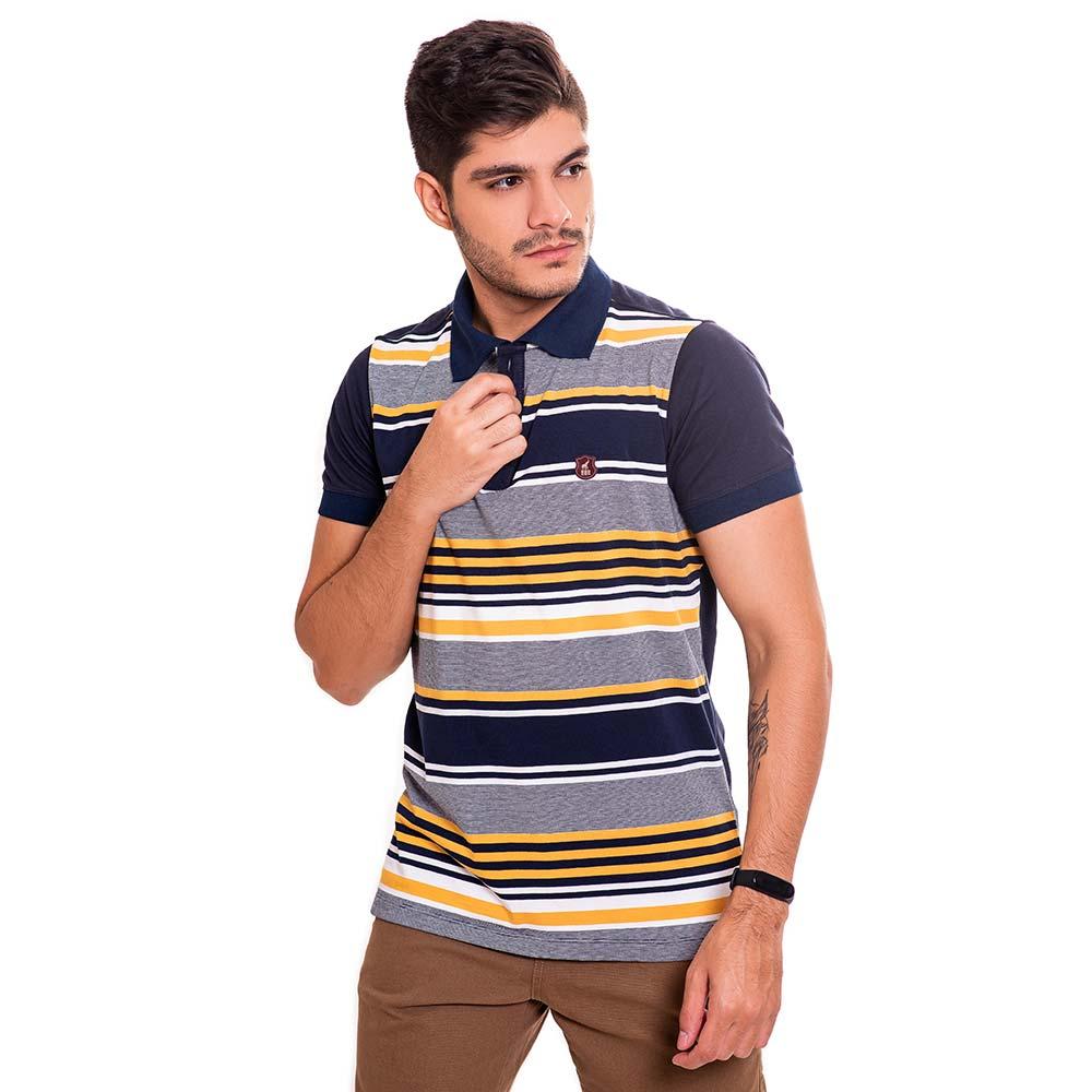 Camisa Polo Masculina Listrada Azul e Amarelo Bamborra