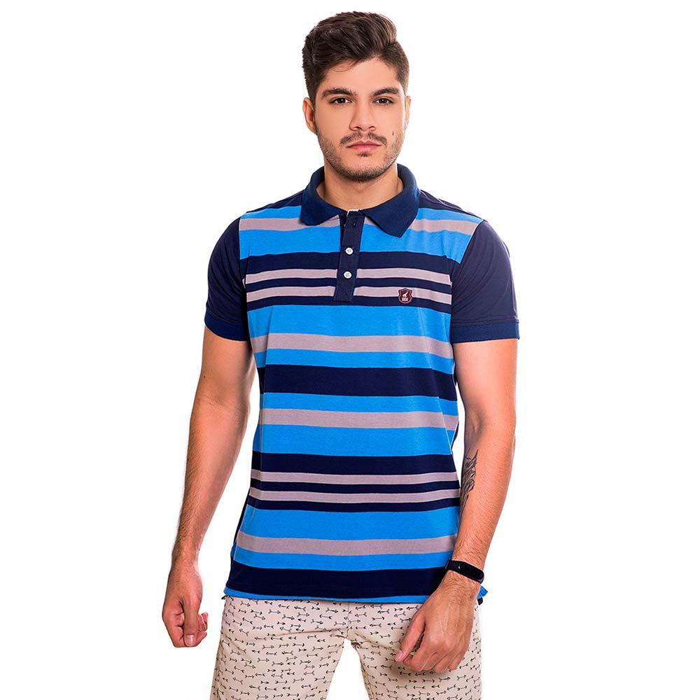 Camisa Polo Masculina Listrada Azul e Cinza Bamborra