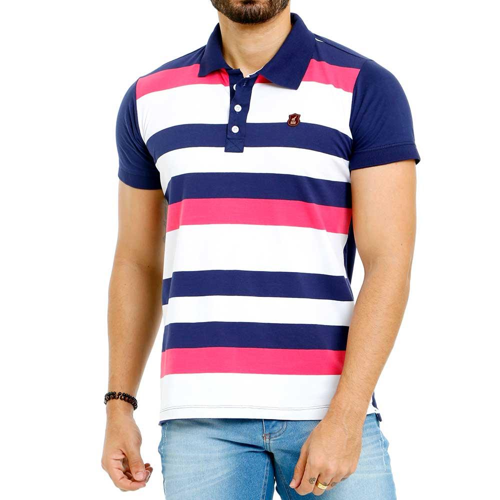 Camisa Polo Masculina Listrada Azul Rosa e Branco Bamborra