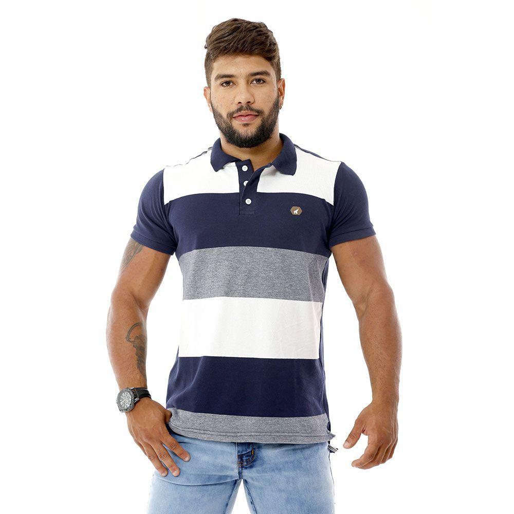 Camisa Polo Masculina Listras Largas Azul e Branco