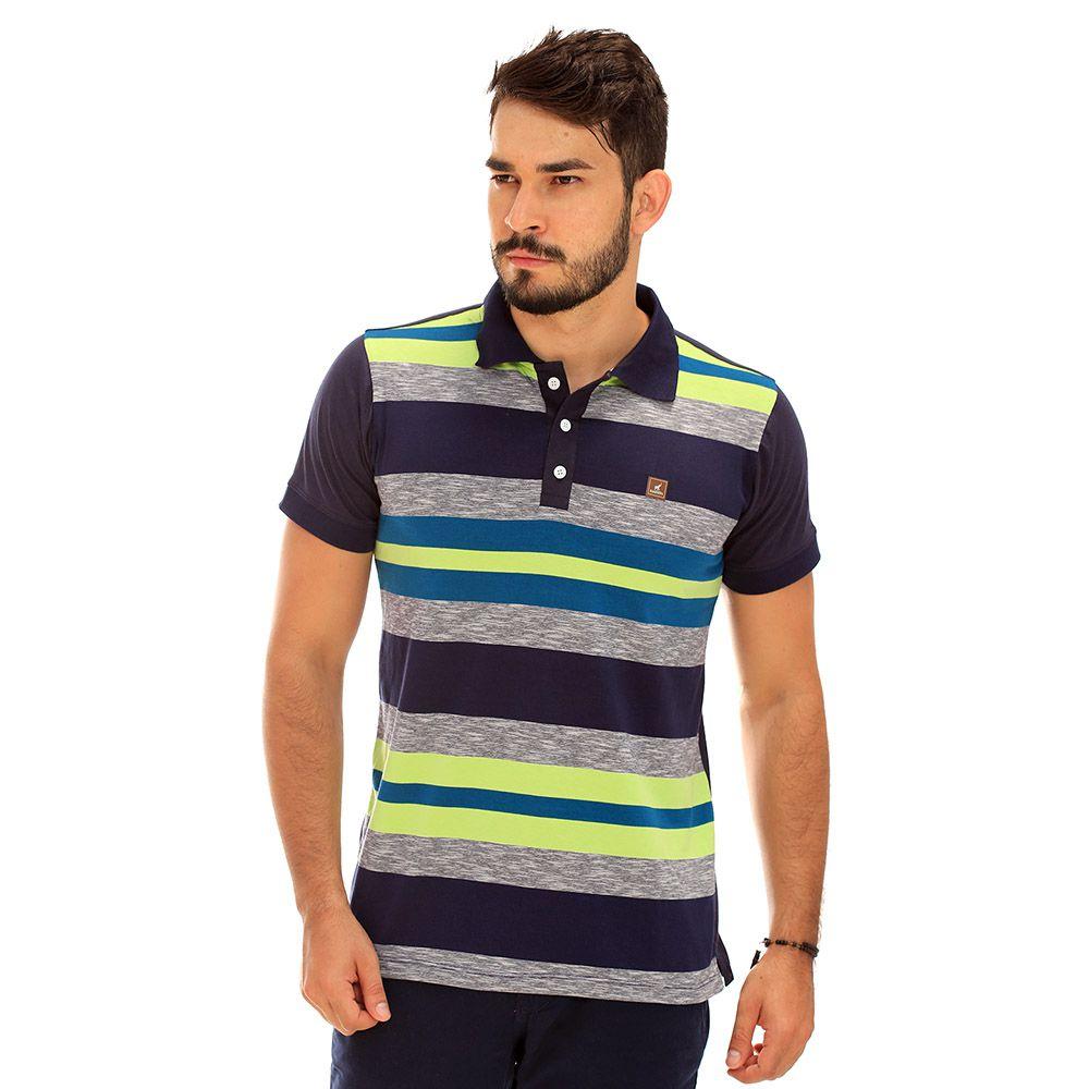 Camisa Polo Masculina Listrada Marinho Cinza e Verde