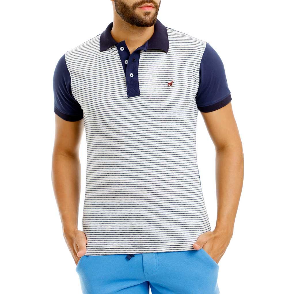 Camisa Polo Masculina Listrada Slim Azul Branco Bamborra