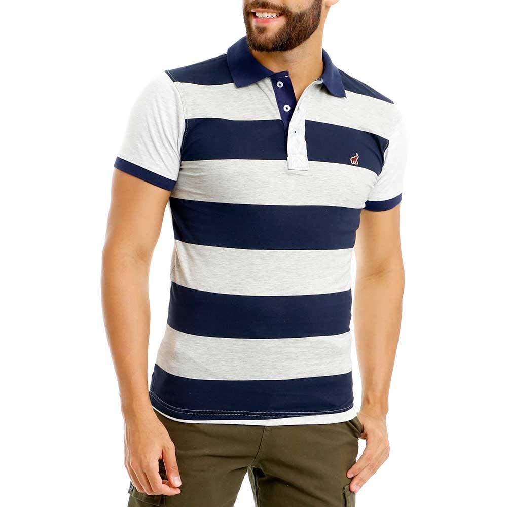 Camisa Polo Masculina Listrada Slim Azul Cinza Bamborra